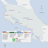 Costa Rica Auto Rental Locations Map