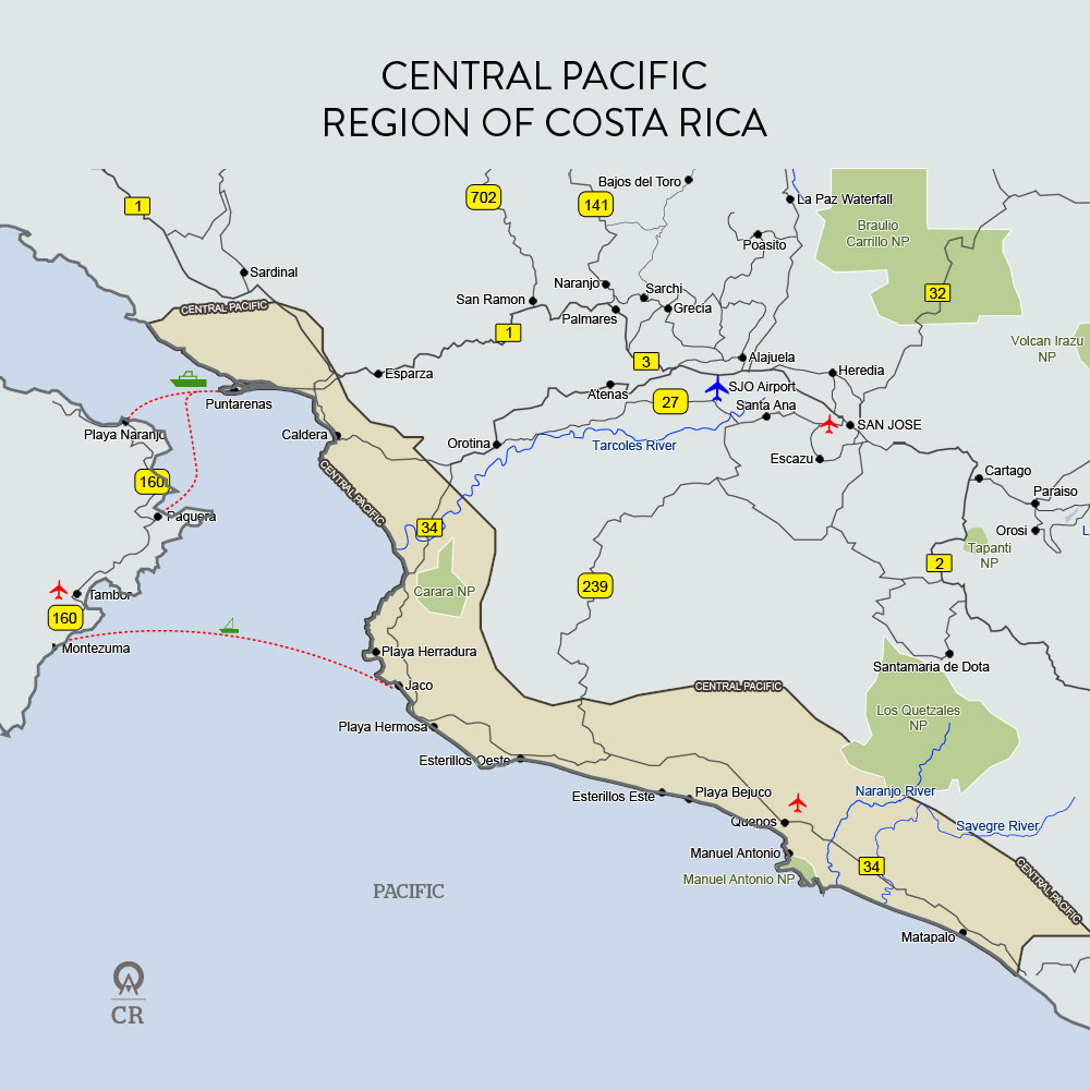 Costa Rica Central Pacific Map