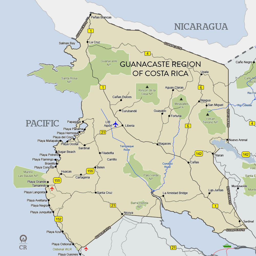 Guanacaste Costa Rica Map