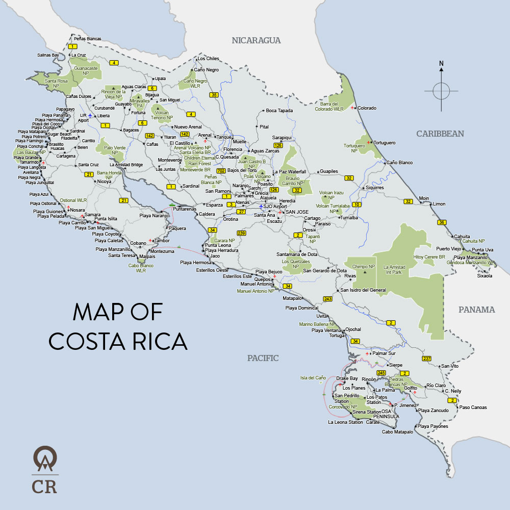 Costa Rica Maps Where is Costa Rica – Tourist Map Of Costa Rica