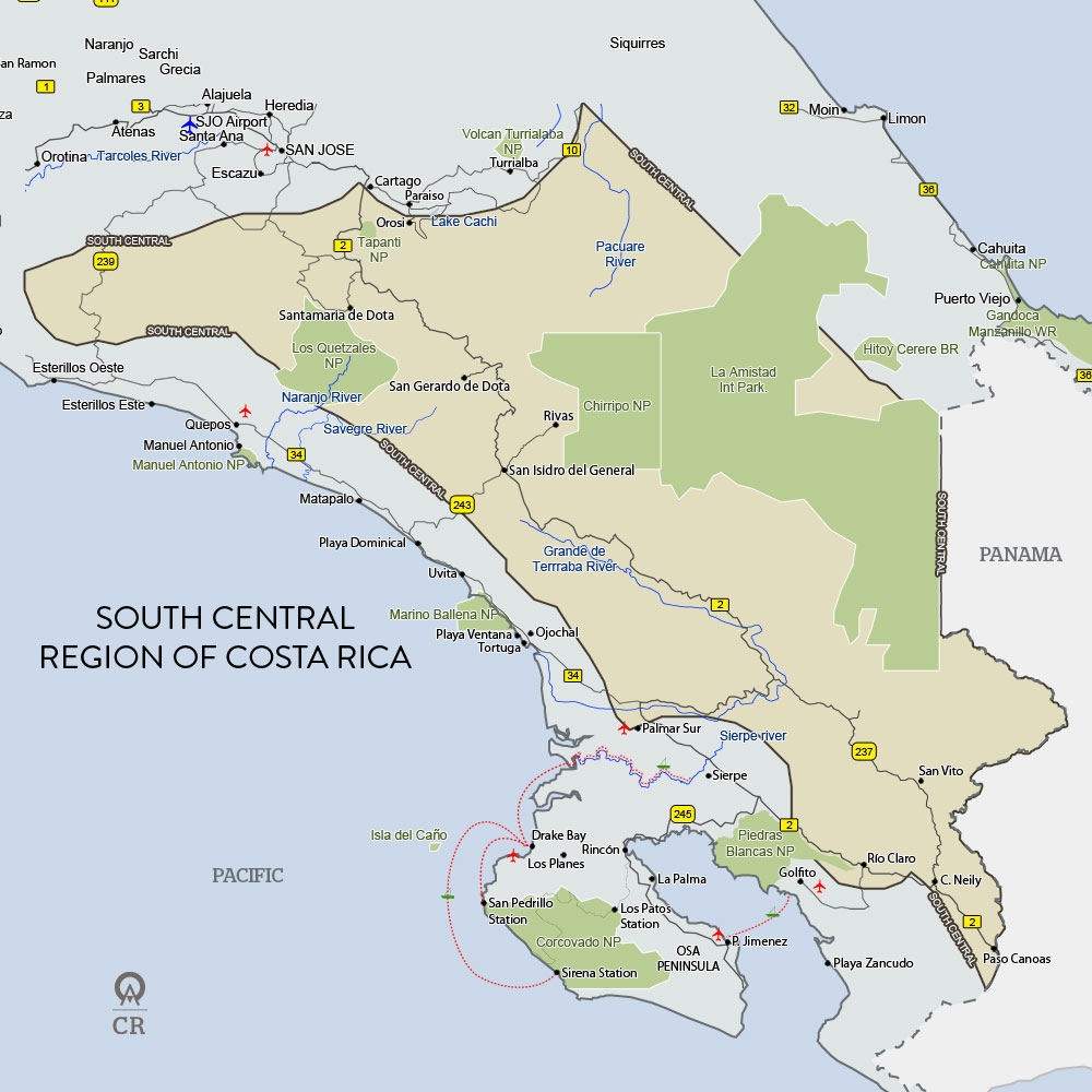 Costa Rica South Central Map
